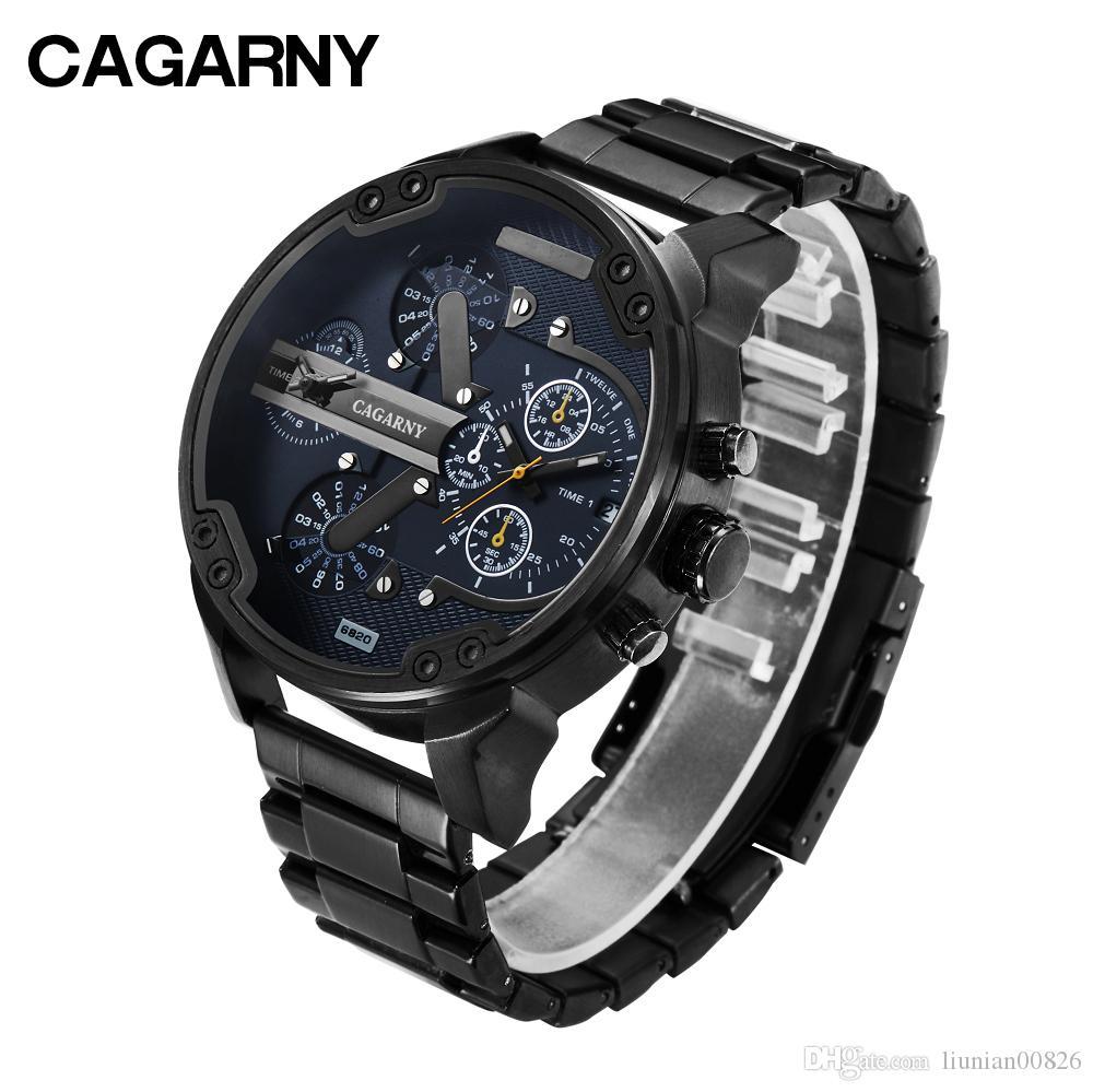 27234ab89810 Compre Reloj De Pulsera Fresco Hombres Marca Cagarny Mens Relojes De Cuarzo  Fecha Auto Impermeable Negro Reloj De Acero Inoxidable Ejército Militar  Relogio ...