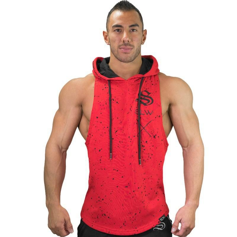 2019 Gym Workout Hoodie Vest Cotton Fitness New Summer Sports Sleeveless Men Hooded Sleeve Sports Fit Man Sportswear
