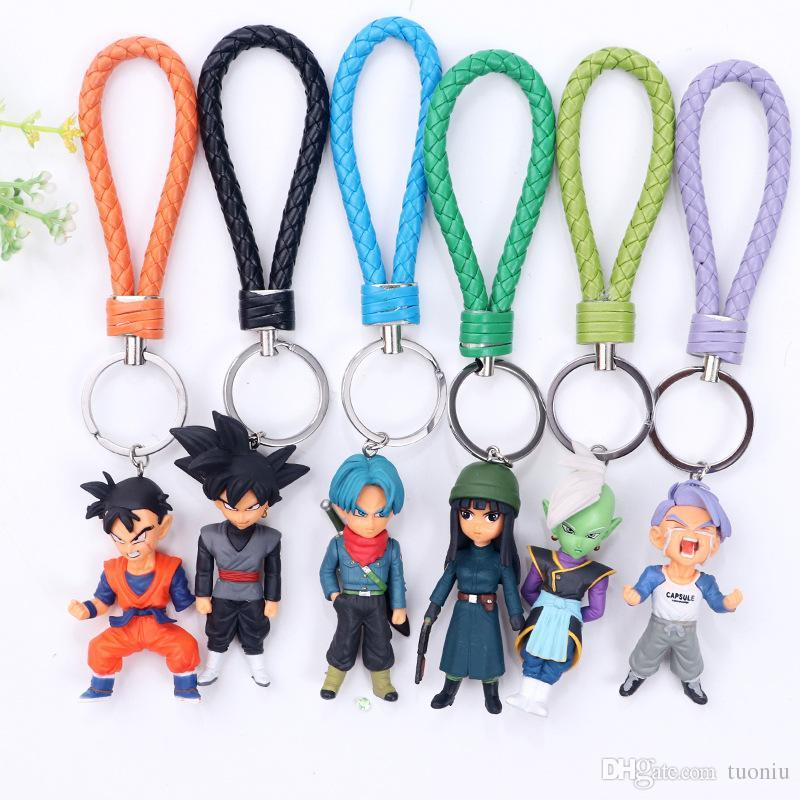 6 Style Dragon Ball Z Key ring toy PVC Kuririn Vegeta Goku SON Gohan Piccolo Freeza Beerus model Action Figures Keychain kids toys