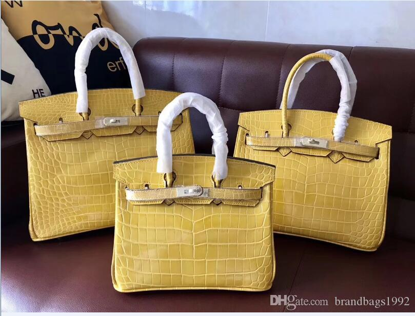 35CM 30CM 25CM 2019 Brand women Totes Purse bags New Blue Yellow Grey Cowhide leather Alligator Bags Fashion lady Handbag Factory wholesale