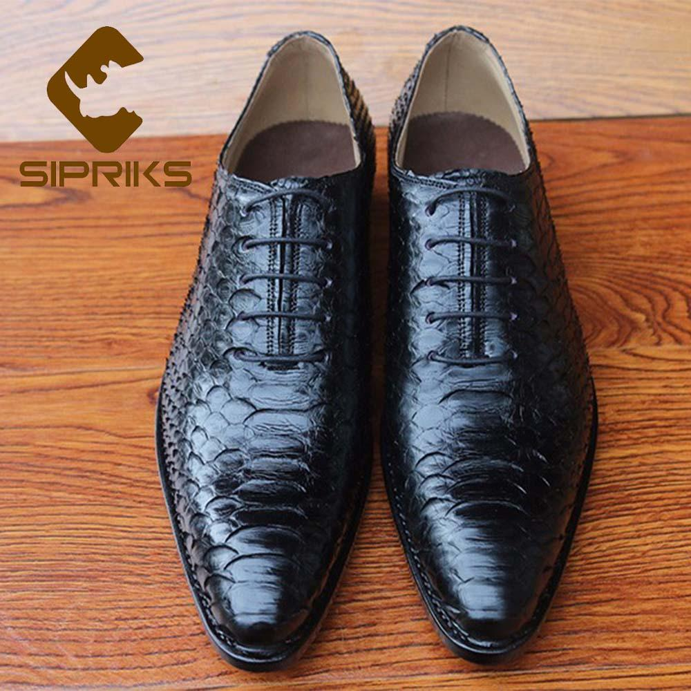 Men's Shoes Shoes Sipriks Whole Cut Plain Oxfords 100% Python Skin Dress Shoes Pointed Lace Up Formal Suits Gents Boss Office Business Shoes 46 47