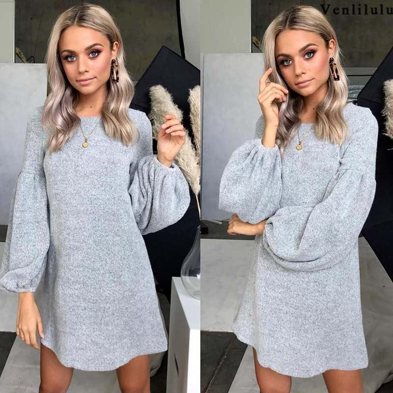 741c01bcfa 2018 Autumn Knitted Sweater Women Spring Loose Long Sweater Dress Winter  Woman Pullover Warm Female Sweaters Ladies Pullovers UK 2019 From Bidalina