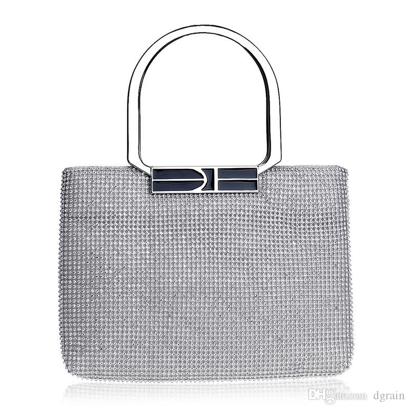 1d7e4e8af8 Sparkling Silver Crystal Evening Clutch Designer 2019 New Women Bridal  Purses Wedding Prom Box Clutch Bag Handbags Shoulder Bag Wristlet Bag  Canada 2019 ...