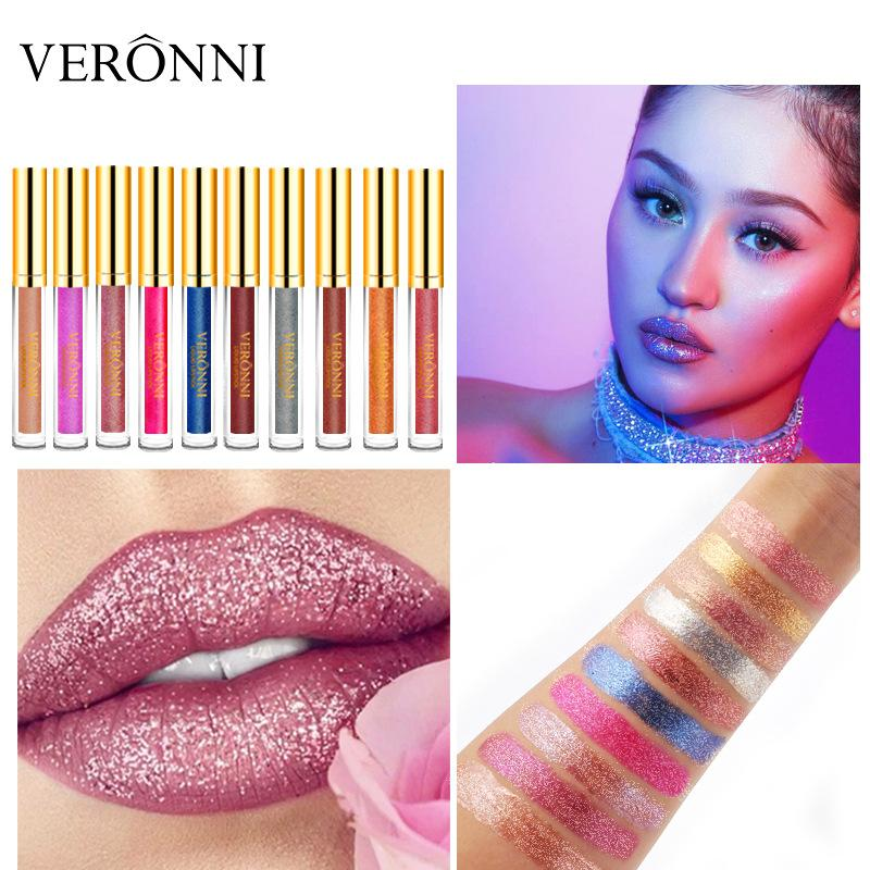 Best selling explosions veronni Bellunni diamonds illusion shiny matte metal lip gloss lipstick New offer explosions free shipping
