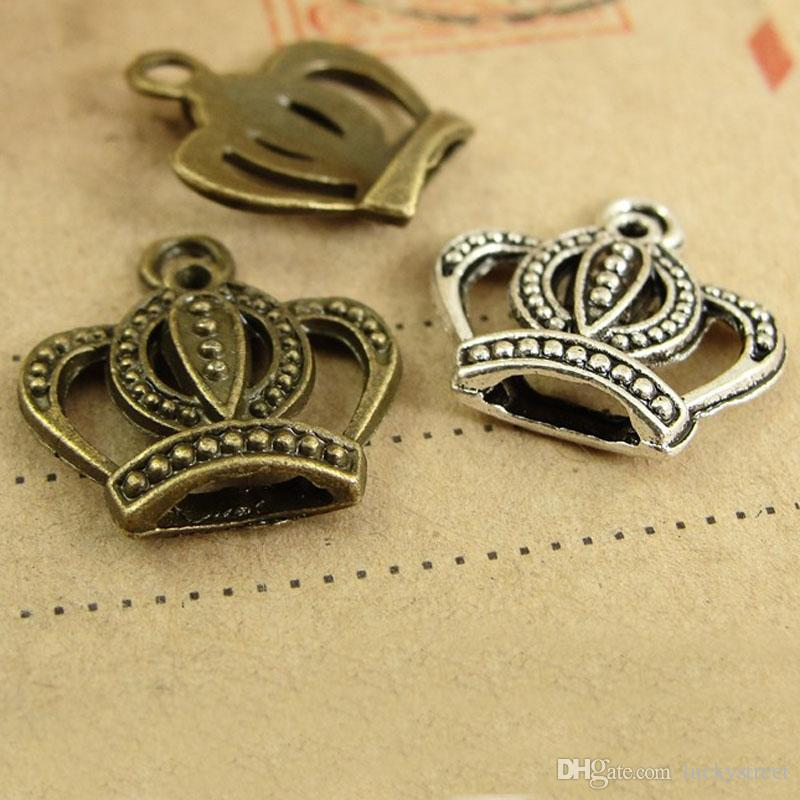 50pcs Diy retro jewelry accessories antiqued silver small crown charm pendants