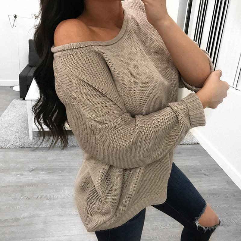 2019 Sexy Long Sleeve Knitted Sweaters Off Shoulder Pullovers Women Slash Neck  Winter Warm Jumpers Tops Casual Loose Sweater From Jamie15 1cc54592f