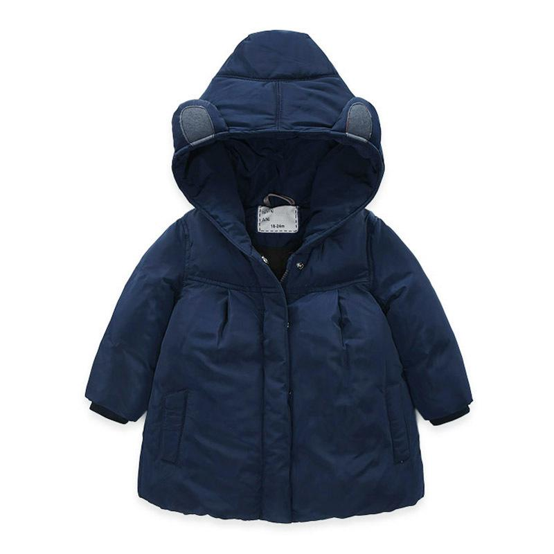 abb2a137c3c Girls Winter Coat Parka Dark Blue Children S Clothes For Baby Girl Jacket  Solid Color Warm Hooded Cotton Thicken Outerwear Add Down Jacket Kids Add  Down ...