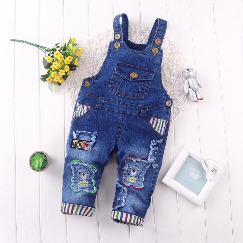 good quality baby boys overalls spring cartoon bear clothes denim jeans trousers clothing for infant girls toddler boys casual pants