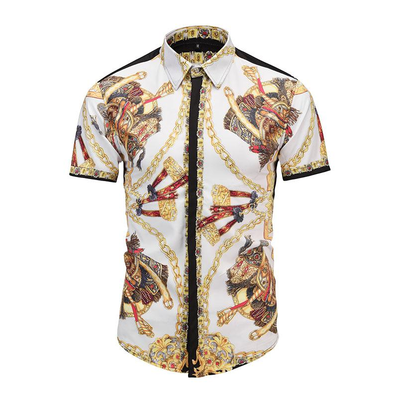 True Reveler summer short sleeve style men shirts fashion royal print iron gold chain blouse party club tops shirts