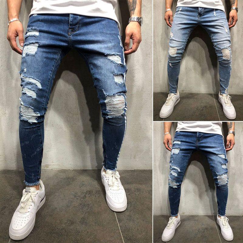 Men Stretchy Ripped Skinny Biker Jeans Destroyed Taped Patch Slim Denim Pants