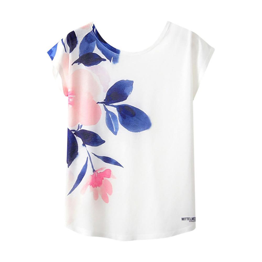 17c5ca978398a 2019 Poleras De Mujer Moda Women Print Short Sleeve Round Neck Loose T  Shirt Chemise Femme Cotton Vogue Floral Camiseta Mujer Vintage T Shirt Cute T  Shirts ...