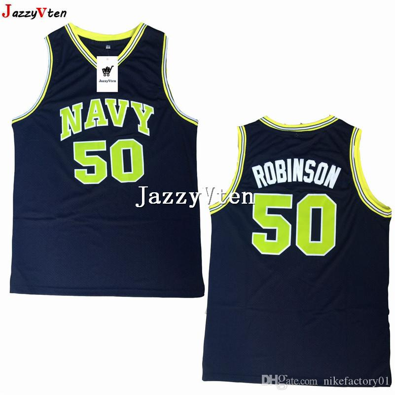 buy popular 6590d a520d brand new #50 David Robinson Navy college Basketball Top Quality David  Robinson High School Stitched Basketball Jersey shirts top quality
