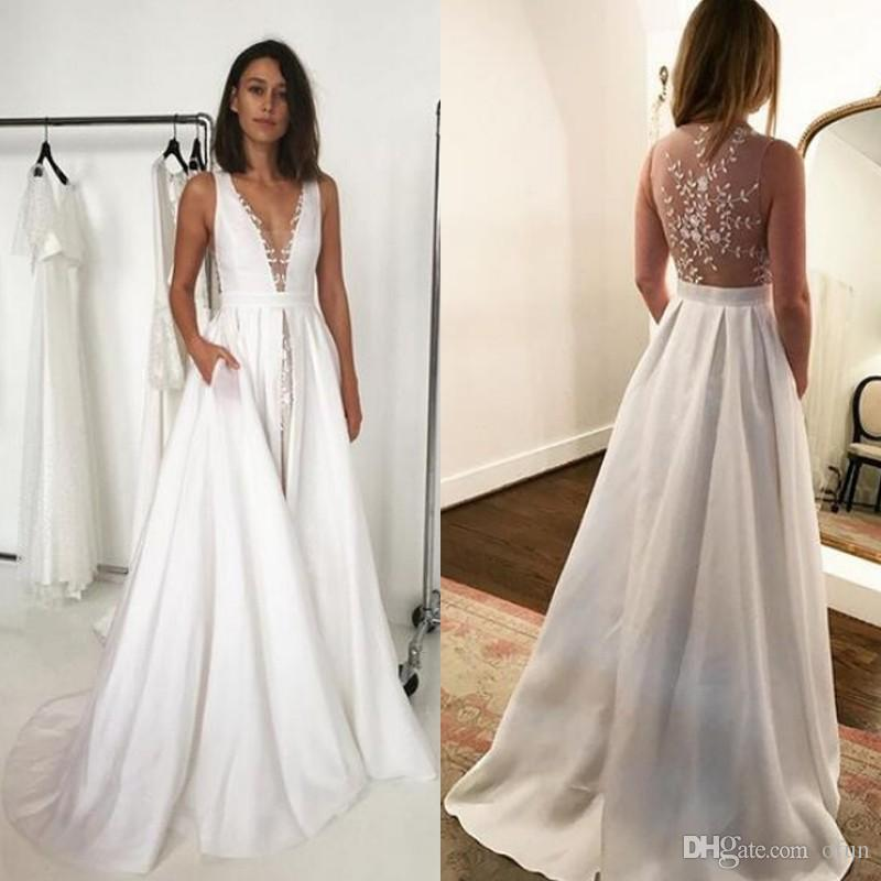 8dadff8e043b1 Discount Simple Beach Wedding Dresses A Line Boho Bridal Gowns Sexy Deep V  Neck Sheer Back Delicate Lace Wedding Dresses With Pockets Best Wedding  Gowns ...
