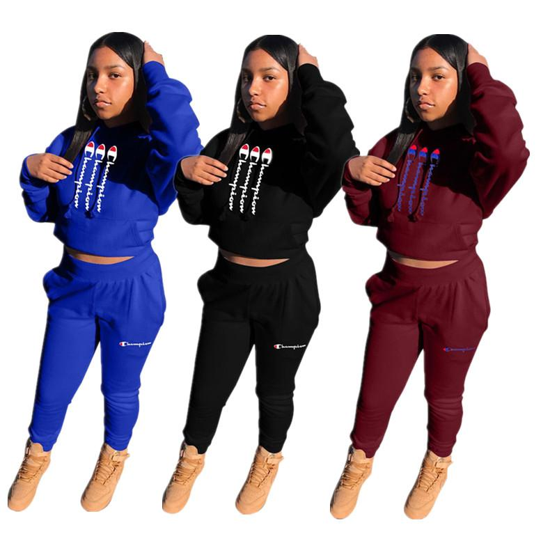 Champion Brand Tracksuit Women Long SLeeve Hooded Crop Top+ Pocket Pants Leggings 2 Piece Outfits Skatboard Athletic Clothing Suit New C8504