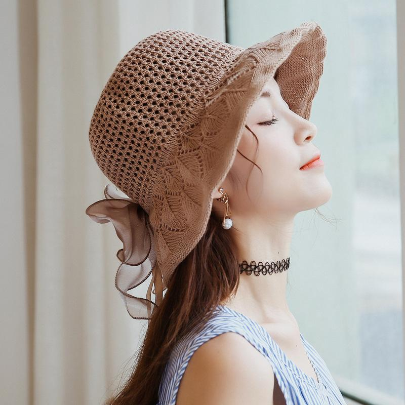Mingjiebihuo New fashion summer sun hat Korean women girls sun hat cotton hollow breathable sun hat outdoor bow tie basin cap