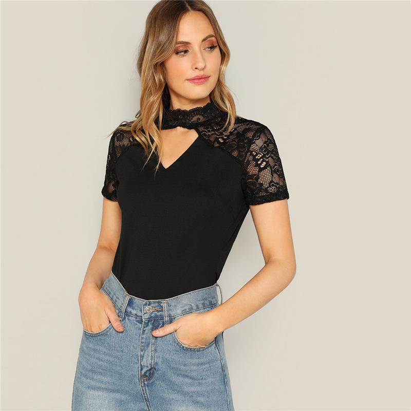 Sexy Black Floral Lace Insert V Cut Mock-neck Tee Solid Short Sleeve T-shirt Women 2019 Summer Sheer Elegant Tshirt Tops