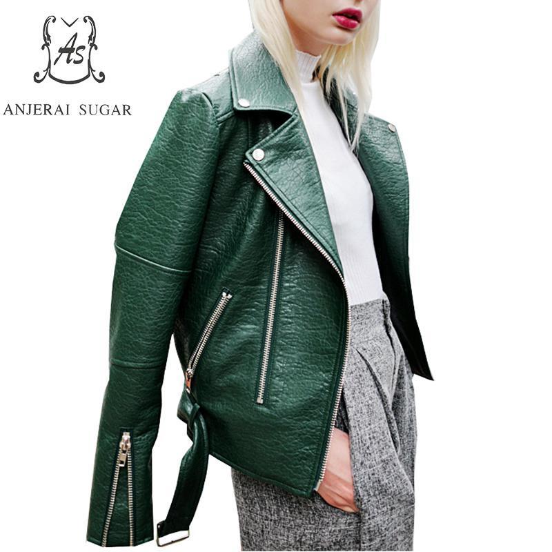 new product 17616 5084c Giacca in pelle PU Cappotto donna in ecopelle verde nero blu Colletto  rovesciato Giubbotto in pelle con motivo a serpente per donna