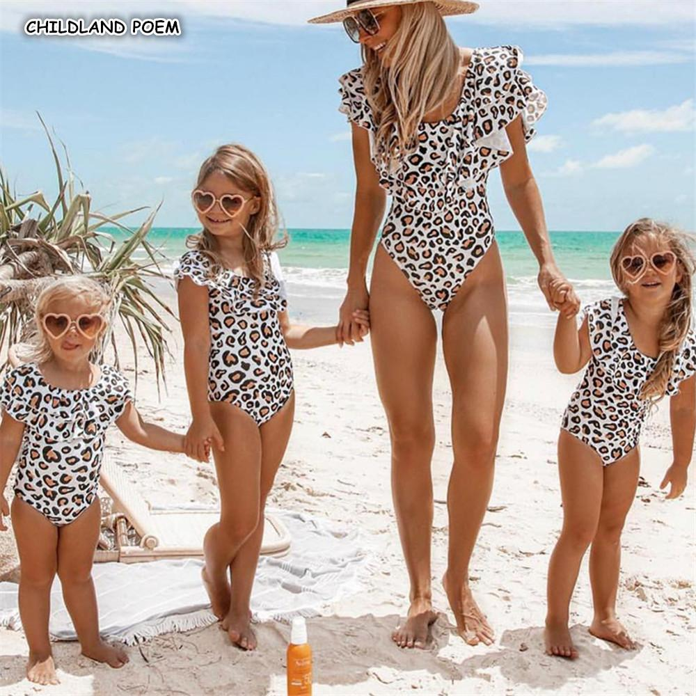 Mother Swimsuit Ruffle Leopard Mom Daughter Swimwear Look Mommy And Me Bikini Family Matching Clothes Q190524