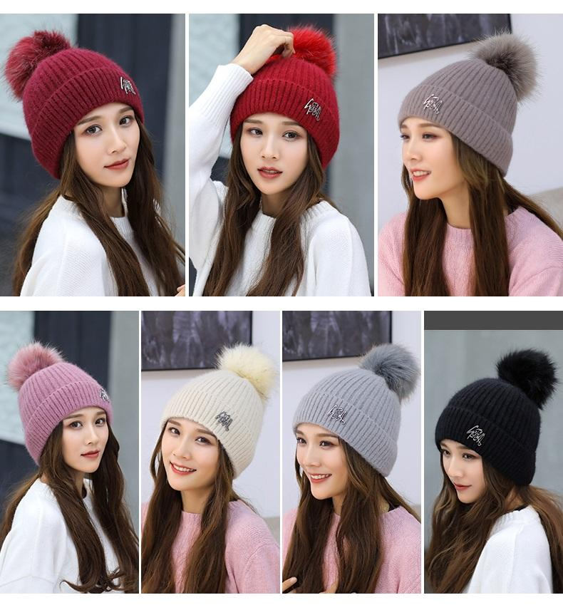 Winter Knitted Hat Double-deck Beanie Wool Cap With Rabbit Hair Ball Earmuffs Hat Casual Skull Caps Outdoor Warm Hats Free Ship