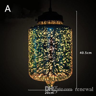 Moderne 3D bunte romantische Sternenhimmel hängen Glasschirm Pendelleuchte  Lichter Leuchte E27 für Schlafzimmer Restaurant Wohnzimmer