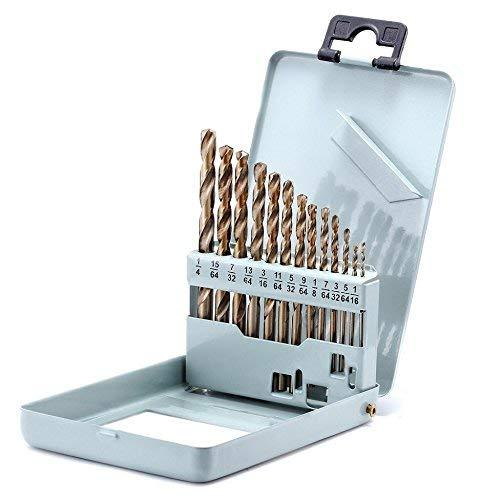 Drill Bit Set Twist Drill Bits Made of Cobalt Steel, M42 HSS 135 Degrees, Straight Shank and Metal Storage Case