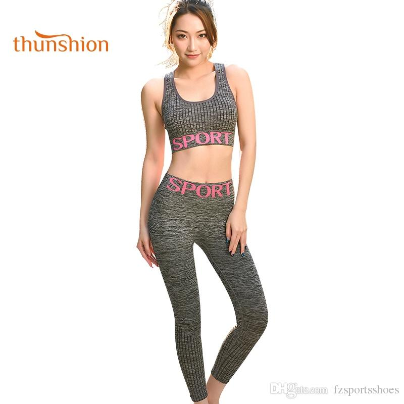 THUNSHION Women Sport Suit Yoga Set Gym Outfit Running Sportswear Soft  Clothing Tights Suit 3 4 Length Pant Ensemble Sport  74090 UK 2019 From  Fzsportsshoes ... cfee73a55b86