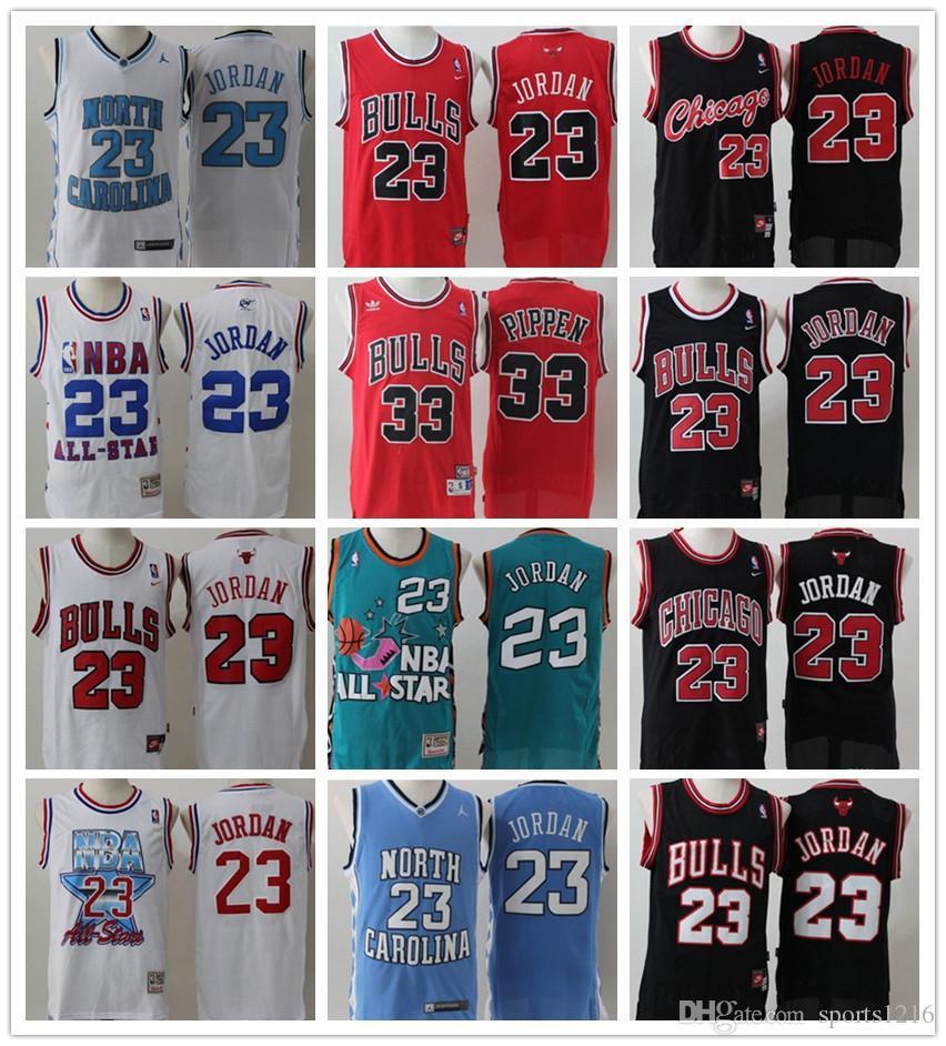 hot sale online 95404 0e3d9 bulls 23 Michael MJ 33 PIPPEN NCAA North Carolina Tar Heels Jersey College  Chicago Basketball Jerseys Red Black White Blue Free Shipping