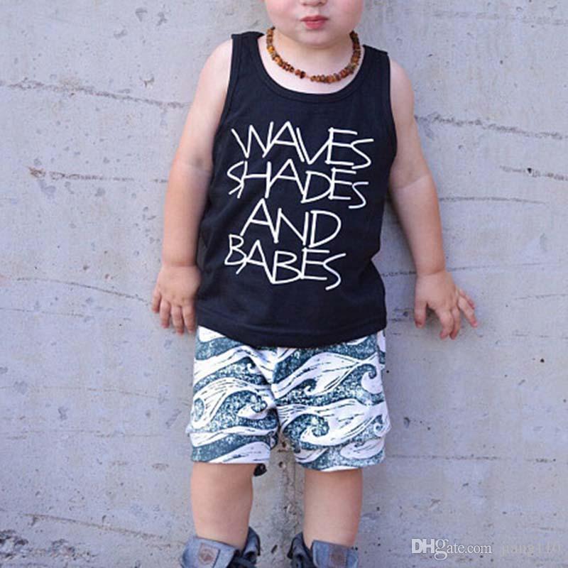 8714b5714c4b8 INS Newborn Baby Boys Clothes Outfits Set 2019 Summer Children Cotton  Letter Vest Tops Wave Printed Shorts Pants Kids Toddler Boys Clothes