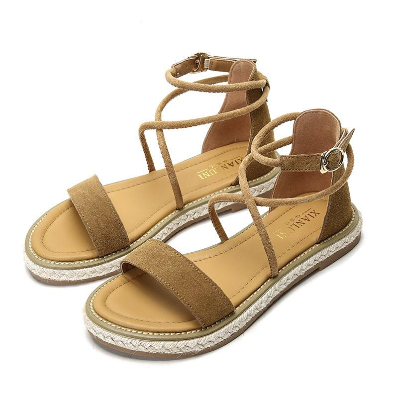 6cbc487f743 2019 New Summer Women Sandals Genuine Leather Cross Strappy Flat Beach  Gladiator Casual Open Toe Big Size Roman Ladies Shoes Leather Shoes  Moccasins For Men ...