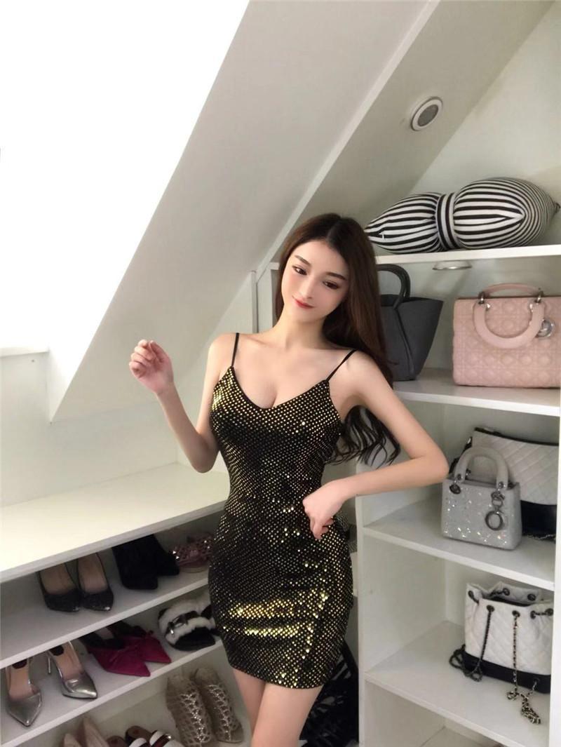 Spring And Summer 2019 Korean Sexy Women Dress With Soft Beads Sling V Neck Sleeveless Underdress Short Skirt Qc0139 Women Black Dress White Dress Women