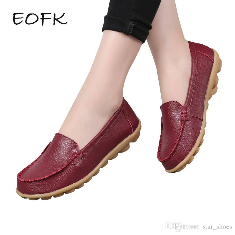 aaf8e1660c EOFK Women Loafers Women's Leather Shoes Woman Casual Flats Soft Slip On Flat  Shoes Solid Color Female Plus Size 44 #11021