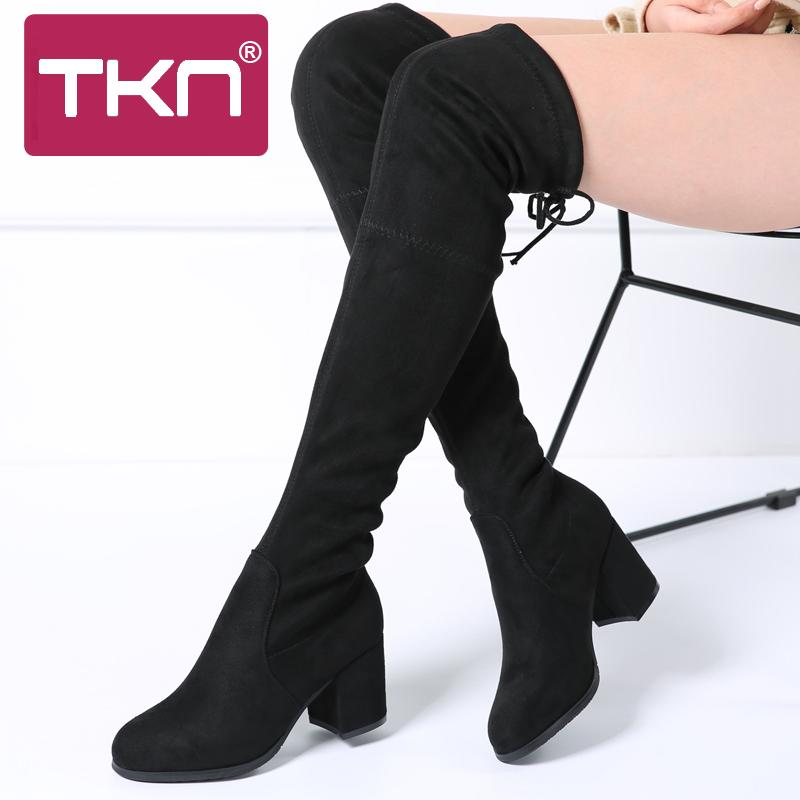 Women Winter Over The Knee Boots Faux Suede Lace Up Ladies Boots Warm High Heels Chaussure Femme Shoes for Women A7512