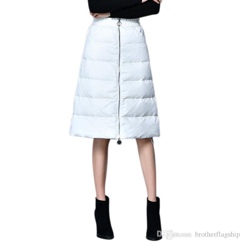 quality design 2aa7b 8341d Nuovo design inverno gonna al ginocchio donne elegante vita alta a-line  addensare caldo bianco anatra giù gonne autunno