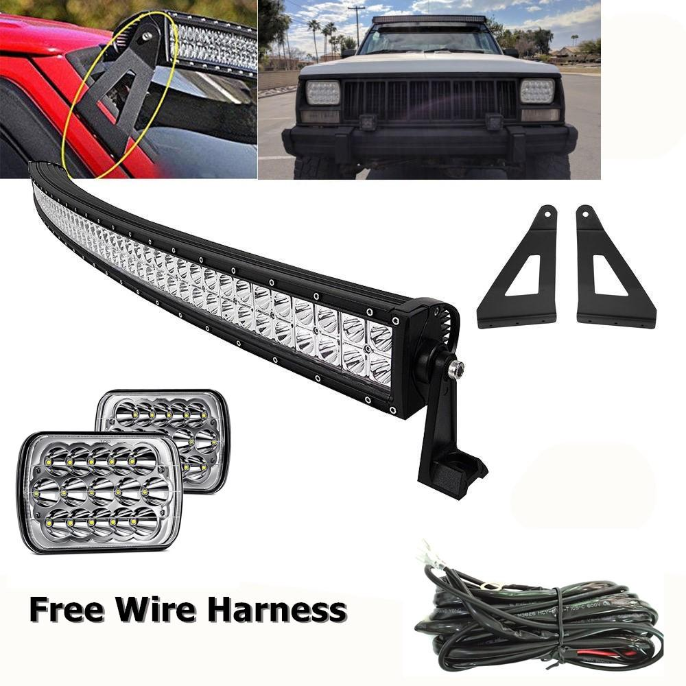 For 1984 2001 Jeep Xj Cherokee 50inch Curved Led Light Bar