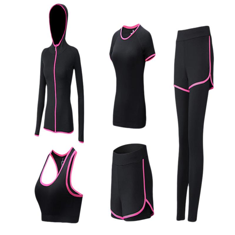 Women's 2019 Slim Sports Running Set 5-piece Gym Quick-dry Yoga Clothes Jogging Running Suits For Women Tracksuits Yoga Suit