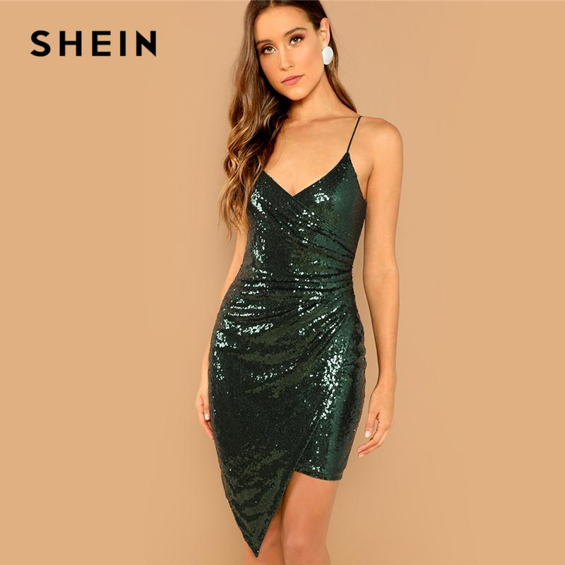 c12a411ac81 SHEIN Green Party Sexy Solid Backless Surplice Wrap Sequin Cami Skinny Dress  Summer Modern Lady Women Sleeveless Club Dresses Evening Dresses Online  Cheap ...
