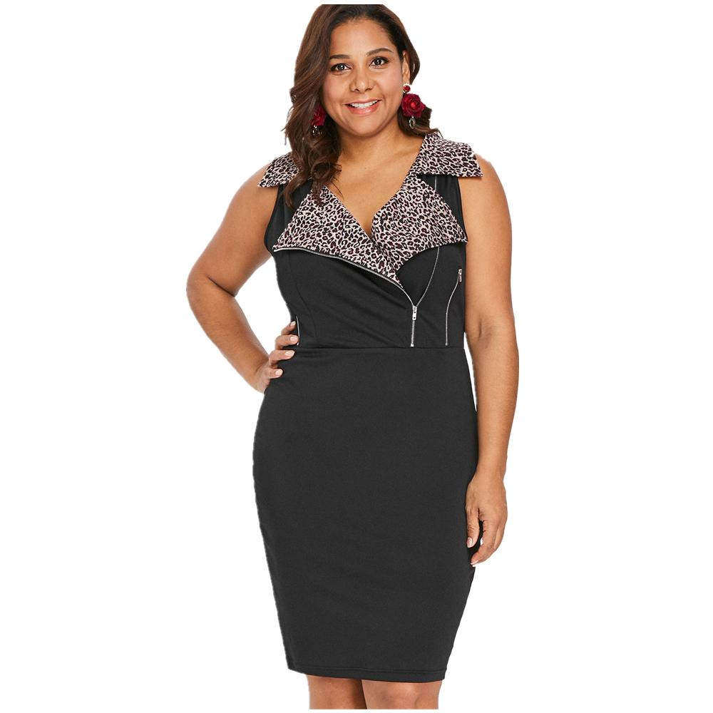 d9d122a16a56 Acquista Kenancy Plus Size Sexy Leopard Print Dress Donna Turn Down Collar  Zip Summer Bodycon Dress Feminino Vestidos 5XL Office A  25.72 Dal Sideceam  ...