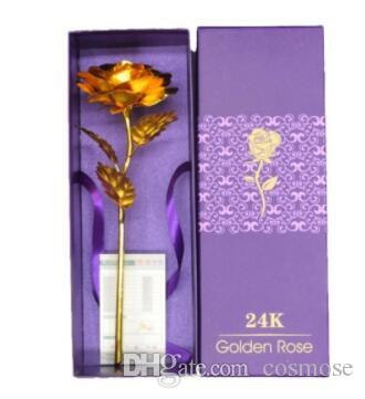 Gold Foil Plated Rose Golden Rose Gold Dipped Flore Artificiales Gold Rose  Artificial Flower Wedding Decoration