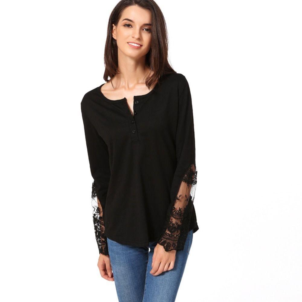 a5cf1feac415 Primavera 2019 Moda mujer blusa camisa de mujer de manga larga con cuello  en v de encaje mujeres Tops Casual túnica para mujer Tops y blusas