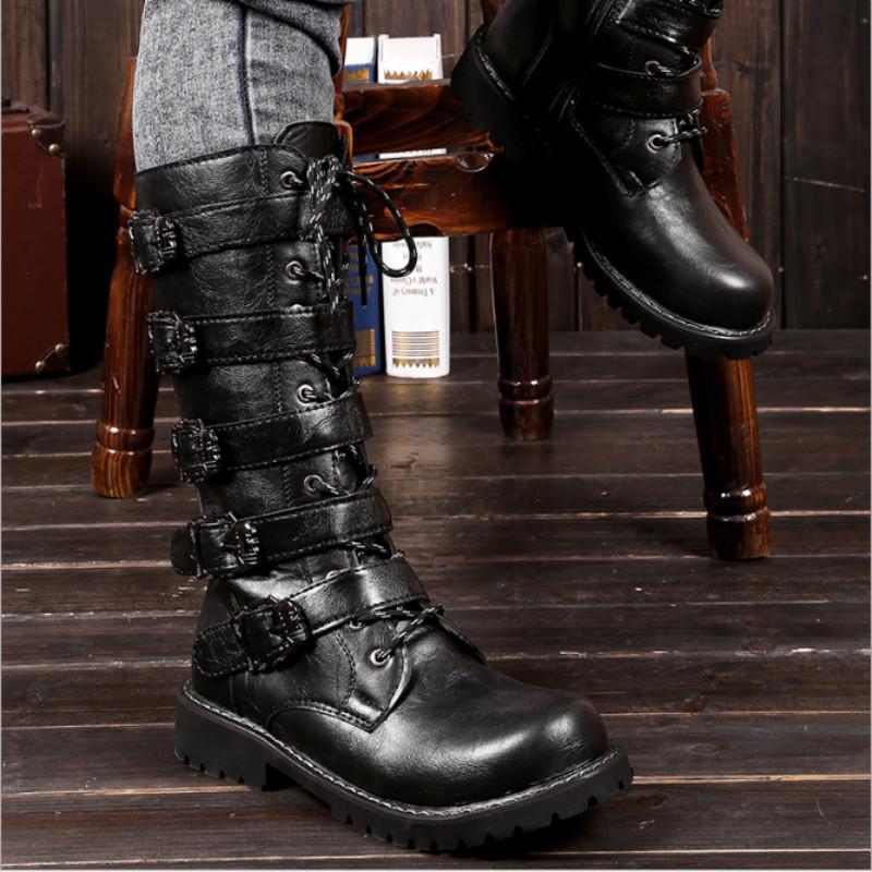c88b4de3151 Combat Boots Men High Combat Boots Metal Buckle Punk Mid Calf Male  Motorcycle Lace Up Men s Shoes Rock HH-130
