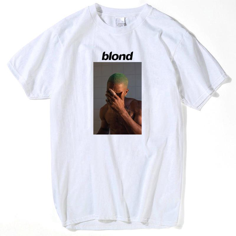 3739c8f9f Fashion Frank Ocean Blond Blocking face Print T Shirt Rap funny t shirts  cotton white Short O-Neck loose men casual short sleeve