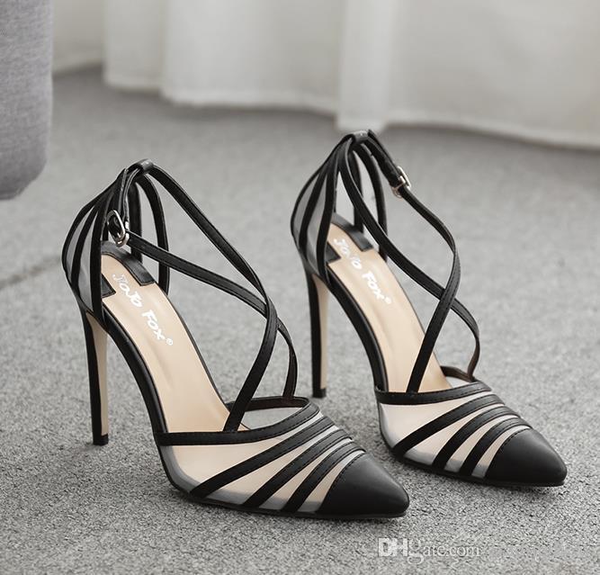 сексуальная золото черный крест ремень острым носом высокие каблуки роскошные женские дизайнерские туфли офисные женские рабочие туфли размер 35 до 41 tradingbear