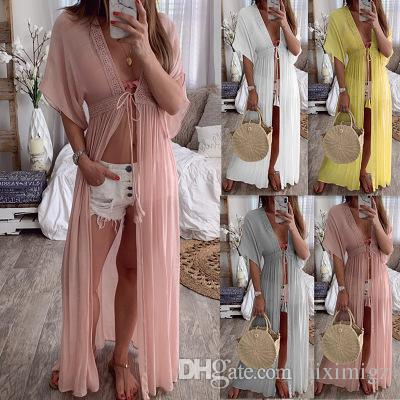 1160235526 2019 Fashion New Summer Vacation Dresses of Women,Lady's Nice Pure Colour Beach  Wear,Sexy Cardigan Style
