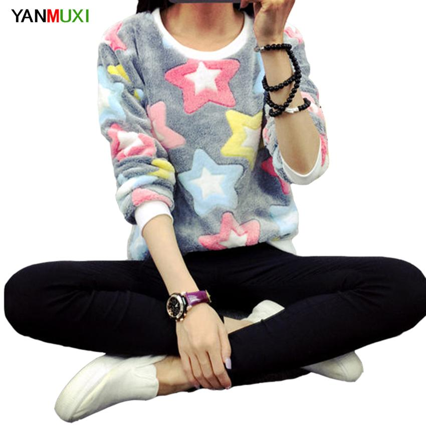YANMUXI Autumn Winter Harajuku Stars Pullover Sweatshirts 2018 Long Sleeve moletom feminino Flannel Printing Women's Sweatshirt