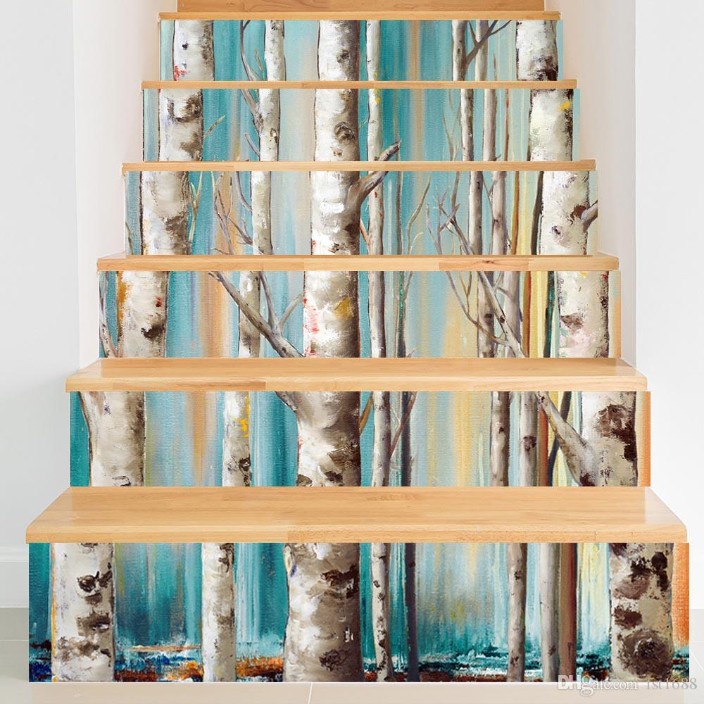 3D Effect Creative 6pcs/set DIY Steps Stair Tree Branch Scenery Wallpaper PVC Waterproof Removable Art Decal Landscape Home Decoration