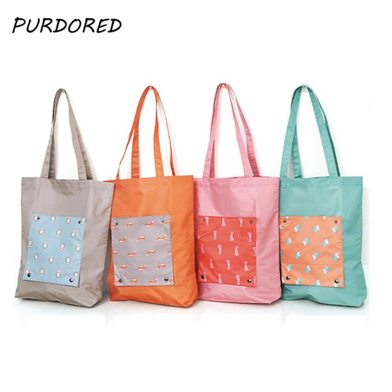 PURDORED 1 pc Solid Shopping Bag Lady Foldable Cloth Reusable Fruit Grocery  Pouch Women Recycle Organization Bag Dropshipping