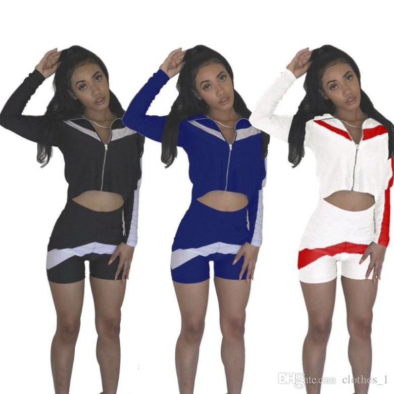 df7e3c695 2019 Womens Long Sleeve Tracksuit Jacket Short Pants Sportswear ...