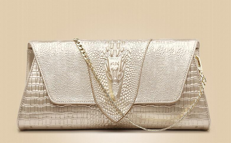 Designer Women brand Clutch Bags France Luxury Banquet bag Three-dimensional Alligator head Genuine Leather Shoulder Bags Cross Body Cowhide
