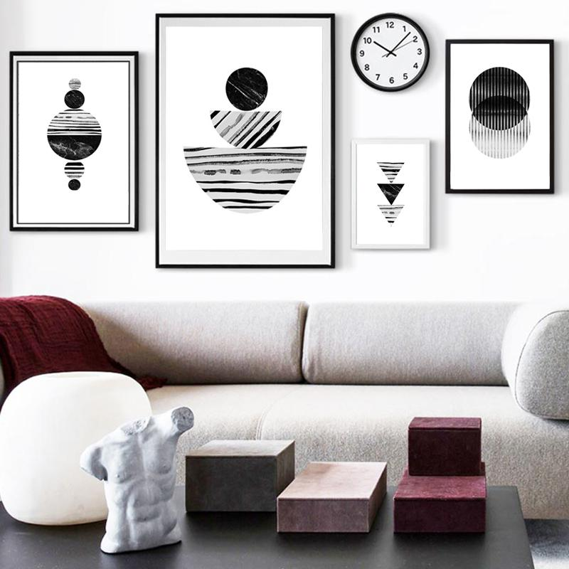 Black White Geometric Canvas Poster Abstract Wall Art Retro Posters And Prints Mid Century Decor Marble Painting Pictures Framed