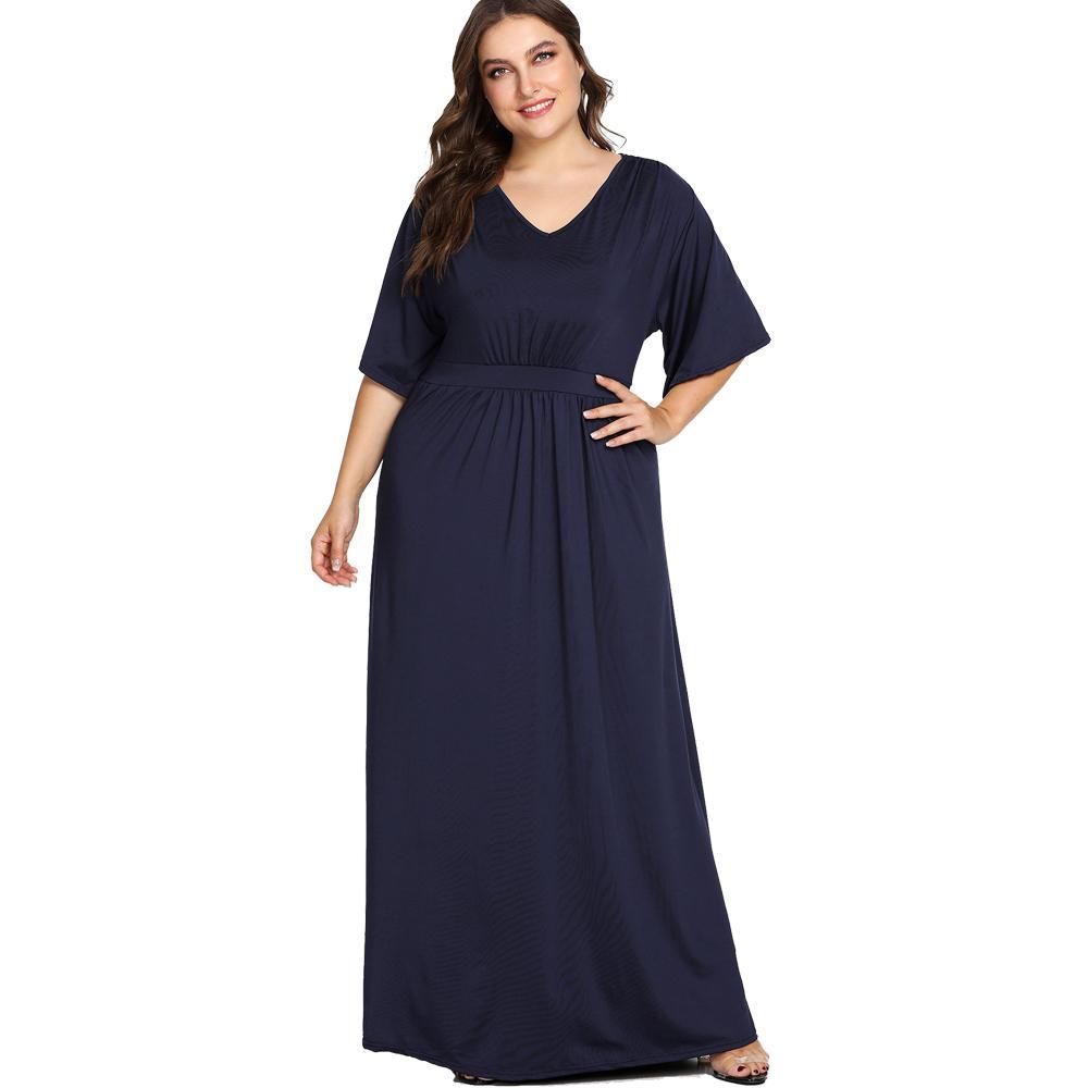 Maxi Dresses Women Plus Size Dress Short Sleeve Navy Blue High Waist  Evening Party